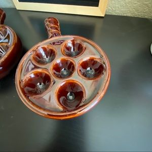Vintage Dining - Vintage Brown Escargot dishes set of two